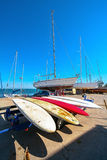Sea dock, port in the evening. Royalty Free Stock Images