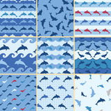Sea dolphin pattern Royalty Free Stock Photos