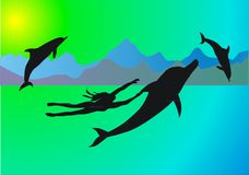 Sea, Dolphins And Girl Royalty Free Stock Image
