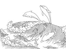 Sea dolphins wave graphic art surf black white landscape sketch illustration Stock Photography