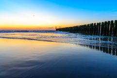 The sea at Domburg beach, Holland. In the sea after sunset at Domburg beach, Holland royalty free stock photo