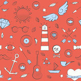 Sea doodle seamless hipster pattern over red Stock Image