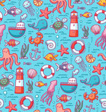 Sea doodles color pattern Stock Photo