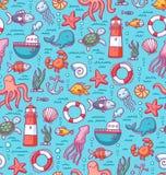 Sea doodles color pattern royalty free illustration
