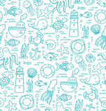 Sea doodles. Seamless pattern with sea creatures doodles and nautical stuff stock illustration