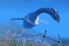 Sea Dragon 01. A fearsome Sea Dragon checks out an anchor and chain in the coastal seas Stock Photo
