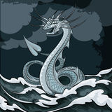 Sea dragon. Illustration of sea dragon floating in the sea drawn in cartoon style Stock Images