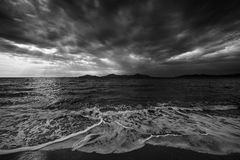 Sea and dramatic sky. Black and white Stock Images