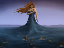 Sea Dress - Digital Painting. Digital painting of a mermaid wearing the ocean as a dress Stock Images