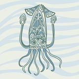 Sea dweller squid in cartoon style on the background of sea wave Stock Image
