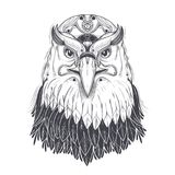 Sea eagle head with pagan runic symbols vector. Bald eagle head with nine-pointed star and runic lightning bolt symbol on forehead line art drawn vector Royalty Free Stock Photo
