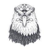 Sea eagle head with pagan runic symbols vector Royalty Free Stock Photo