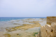 Sea ebb near Acre, Israel Stock Images