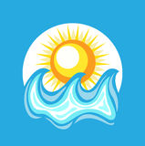 Sea element and sun flat design Royalty Free Stock Images