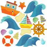 Sea elements and animals - illustration Stock Image