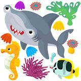Sea elements and animals - illustration Stock Images