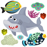 Sea elements and animals - illustration Royalty Free Stock Photo