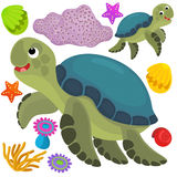 Sea elements and animals - illustration Stock Photo