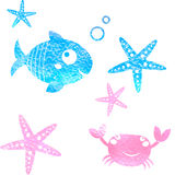 Sea elements - hand draw watercolor painting Royalty Free Stock Image