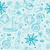Sea elements pattern. Marine seamless background royalty free illustration