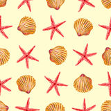 Sea Elements On Sand Seamless Pattern. With red starfishs dark yellow seashells on beige background vector illustration Royalty Free Stock Images