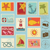 Sea elements - stamp collection Stock Image