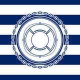 Sea Emblem with a Lifebuoy Royalty Free Stock Photo