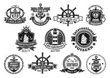 Sea emblem set with anchor, helm, sailing ship. Nautical heraldic emblem set. Marine anchor, helm, sailing ship, compass and lighthouse, framed by rope, chain Stock Photo