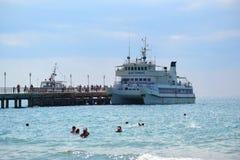Sea entertainments. The ship Dagomys on pier. Stock Photo