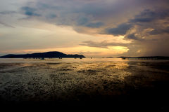 Sea evening. Sky and clouds with gold Royalty Free Stock Image