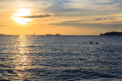 Sea in evening at Thailand, with Twilight Royalty Free Stock Photography
