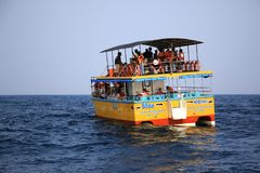 Sea excursion. Sea trip to the whales. A boat with tourists in the Indian Ocean, Sri Lanka, Mirissa Stock Image