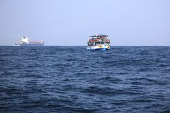 Sea excursion. Sea trip to the whales. A boat with tourists in the Indian Ocean, Sri Lanka, Mirissa Stock Photos
