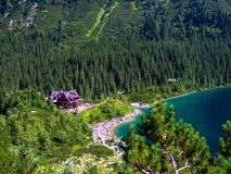 Sea Eye lake and mountain shelter in High Tatras in Poland. View from route to Szpiglasowa pass to Morskie Oko shelter in Tatras. Crowd of tourists at he lake stock photos