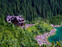 Sea Eye lake and mountain shelter in High Tatras in Poland. View from route to Szpiglasowa pass to Morskie Oko shelter in Tatras. Crowd of tourists at he lake stock photography