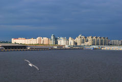 Sea facade of St. Petersburg before the storm Stock Image
