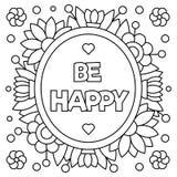 Sea feliz Página que colorea Ilustración del vector Fotos de archivo libres de regalías
