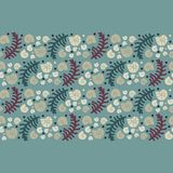 Sea fern and snail conchs pattern. Vector background Stock Images