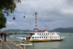 Sea ferry and cable car at an amusement park Vinpearl. Nha Trang, Vietnam Royalty Free Stock Photo