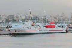 Palma-de-Mallorca, Spain - Oct 02, 2018: Sea ferry in port royalty free stock photos