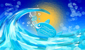 Sea with fish. Abstract Background with  sea  and fish Royalty Free Stock Photography