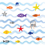 Sea and fish background with cute design. Graphic illustration Stock Photo
