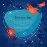 Sea fish on bright background with place for your text. Vector illustration. Sea fish on bright background with place for your text. Ocean fish and crabs. Vector Royalty Free Stock Photo