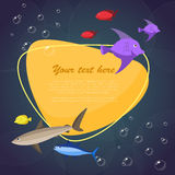 Sea fish on bright background with place for your text. Vector illustration. Sea fish on bright background with place for your text. Bright ocean and river fish Stock Photos