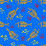 Sea fish and crab underwater, seamless pattern Stock Images