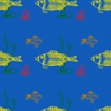 Sea fish and crab underwater, seamless pattern Royalty Free Stock Images