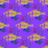Sea fish and crab underwater, seamless pattern Royalty Free Stock Photos