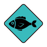 Sea fish emblem icon. Vector illustration design Royalty Free Stock Images
