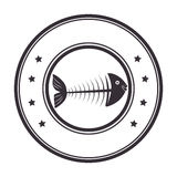Sea fish emblem icon. Vector illustration design Stock Images