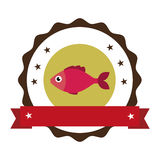Sea fish emblem icon Royalty Free Stock Photo